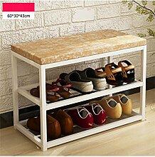 Regal im Wohnzimmer Schlafzimmer Küche Multi - Layer Haushalt Einfache staubdichte Schuh - Rack Eisen Moderne Montage Schuhe Stuhl Dekoration Rack YYJRR-Eckregale ( Farbe : Gelb , größe : 60 )