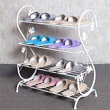 Regal im Wohnzimmer Schlafzimmer Küche Multi Tier Schuh Rack Eisen Einfache Lagerung Schrank Möbel Kreative Einfachheit Schuh Organizer Regale Dekoration Rack YYJRR-Eckregale ( Farbe : Weiß , größe : B )