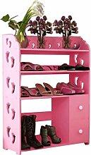 Regal im Wohnzimmer Schlafzimmer Küche Schuhschränke Creative Carvings Stiefel Organizer Regale Multifunktionale Staubdichte Multi Tiers mit Schublade Kombination von Schuh Racks (Pink / 60 * 24 * 81) Dekoration Rack YYJRR-Eckregale