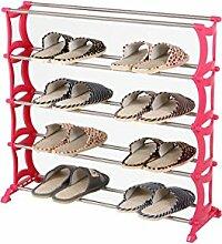 Regal im Wohnzimmer Schlafzimmer Küche Stahl Schuh - Rack Einfache Multi - Layer - Schuh - Rack Dekoration Rack YYJRR-Eckregale ( Farbe : Rot , größe : 0.74m )