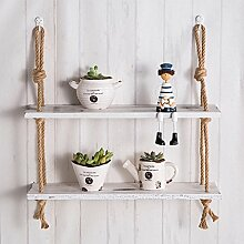 Regal Mahagoni Racks Wandbehänge Wohnzimmer Ideen einfache Wanddekoration Lagerregale Wandregale Massivholz Leinen einfach Retro dekorative Regale Worttrennwände 2 Schichten 3 Schichten ( Color : White , Size : #2 )
