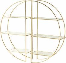 Regal mit goldfarbenem Metallgestell und Glasböden