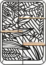 Regal mit Perforationen, schwarz, Blattmotive