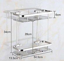 Regal Multifunktions-Regal Edelstahl Doppelter Deck Badezimmer Regal Wandhalter Badezimmer Zubehör
