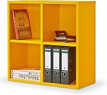Regal orange, Regalwürfel, 4er Cube orange, Regal, Click System: werkzeuglose Montage