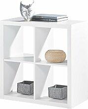 Regal Raumteiler Raumtrenner Standregal SONJA 1 | Weiß Dekor | 4 Fächer | B/H/L: 77x77x38 cm
