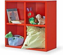 Regal rot, Regalwürfel, 4er Cube rot, Regal, Click System: werkzeuglose Montage