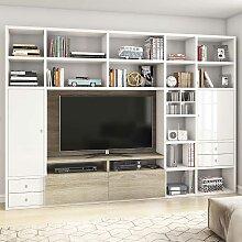 Regal Schrankwand für Fernseher Hochglanz Weiß