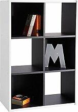Regal schwarz weiß B 60 cm Holz Kinderzimmer Jugendzimmer Wandregal Holzregal Aktenregal Büro Wohn Aufbewahrung Stand Bücherregal