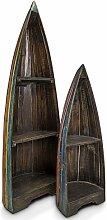 Regal Set Standregal Bootsregal Holzregal Bücherregal Boot 95/145cm Shabby Chic