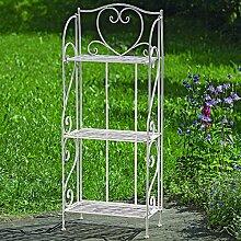 Regal Slima 3 Böden Metall weiß 120cm hoch Bücherregal Ablage Gartenregal Balkon