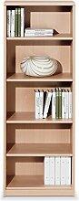 Regal Standregal Bücherregal HENRIK 5 | 5 Fächer | Braun | Buche | BxHxT: 55x148x36 cm