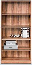 Regal Standregal Bücherregal JEAN 6 | 5 Fächer | Braun | Nussbaum | BxHxT: 72x148x36 cm