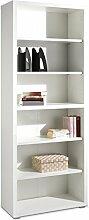 Regal Standregal Bücherregal SILKE | 6 Fächer | Weiß Hochglanz | BxHxT: 80x220x36 cm