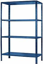 Regal Steckregal blau Metall 190x100x40cm Regalsystem Steckregalsystem  4 Metall-Böden Traglast 260kg einfache Montage durch Stecksystem kein Verschrauben Schulte