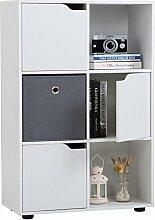 Regal VERMONT Bücherregal Raumteiler mit 6 Fächern, davon 3 mit Türen, in weiß