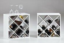 Regal, Weinregal, Kubus, Allzweckregal, Weinregal, Weinschrank, Weinflaschenhalter, 12 Fächer, 2er Set, schräg, quadratisch, weiß, neu