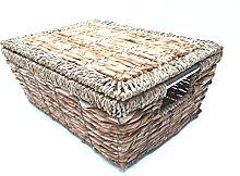 Regalkorb aus Wasserhyazinthe mit Metallrahmen und