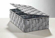 Regalkorb mit Deckel aus Nylon in grau