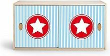 Regalschrank mit Schiebetüren aus Birke Multiplex mit Echtholzfurnier für Garderobe, Kinderzimmer, Kindermöbel (Stern groß hellblau)