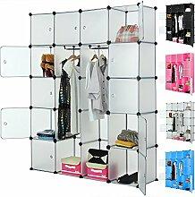 Regalsystem 20 Boxenfächer Steckregal Kleiderschrank DIY Garderobe Schuhregal Kunststoffboxen in pink