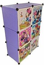 Regalsystem Kleiderschrank Regal Kinderzimmer Garderobe Kindermöbel Schrank (6er lila)