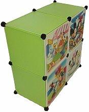 Regalsystem Kleiderschrank Regal Kinderzimmer Garderobe Kindermöbel Schrank (4er grün)