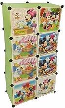 Regalsystem Kleiderschrank Regal Kinderzimmer Garderobe Kindermöbel Schrank (8er grün)