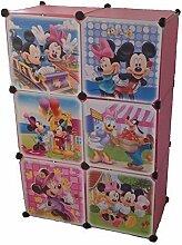 Regalsystem Kleiderschrank Regal Kinderzimmer Garderobe Kindermöbel Schrank (6er rosa)