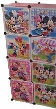 Regalsystem Kleiderschrank Regal Kinderzimmer Garderobe Kindermöbel Schrank (8 er rosa)