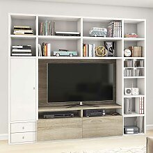 Regalwand für Fernseher Hochglanz Weiß und Eiche