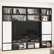 Regalwand für Fernseher Weiß und Eiche Schwarz