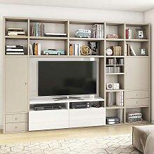 Regalwand für TV Beige und Weiß Hochglanz