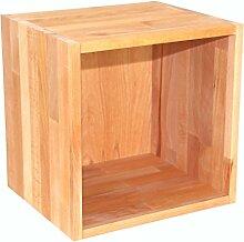 Regalwürfel Flexicube, Grundmodul Buche geölt, Regalwürfel aus Massivholz, erweiterbar zum Regal, Raumteiler, Bücherregal