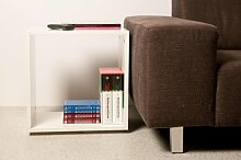 Regalwürfel / Kombimöbel aus Holz, weiß glänzend, Höhe ca. 50cm