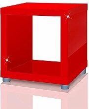 Regalwürfel Mexx, Beistelltisch, Kasten, Regal, Würfel, Cube in 4 Farben B-Ware, Farbe:Hochglanz Ro