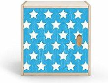 Regalwürfel mit Türe,Birke Multiplex mit Echtholzfurnier, für Kinderzimmer, Büro, Garderobe...(Sterne retro blau)