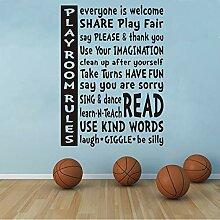 Regeln Wand Zitat Aufkleber Kinder Spielzimmer