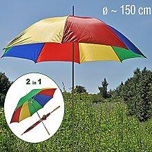 Regen-und Strandschirm Sonnenschirm inkl. Tragetasche Garten Schirm Sonnenschutz Ø150xH180cm