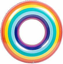 Regenbogen Aufblasbarer PVC Schwimmring Rettungsring Schwimmender Reihen Sitz Für Erwachsene Kinder Kinder Mädchen Jungen