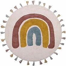 Regenbogen Baumwolle Multicolor runden Teppich