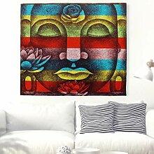 Regenbogen Buddha Kopf mit Lotus Wandteppich