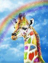 Regenbogen Giraffe Diamant Malerei 5D DIY Voll