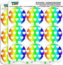 Regenbogen Herz 5 cm (5.08 cm) Scrapbooking Handwerk Aufkleber