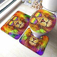 Regenbogen Lion Pride Mit Sonnenbrille Bad Teppich
