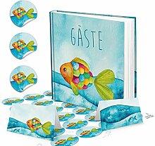Regenbogenfisch Gästebuch BUNTER FISCH + 24 runde Fische Aufkleber + 25 Tischkarten - ideal für Taufe Kommunion Kindergeburtstag Geburtstag als Tischdeko maritim - Mädchen und Jungen