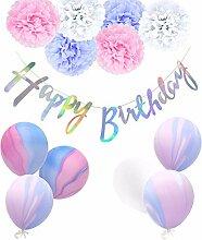 Regendeko 12er Set Rosa Lila Happy Birthday