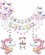 Regendeko 21er Set Einhorn Happy Birthday Ballons
