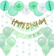 Regendeko 22er Set Mint Grün Happy Birthday
