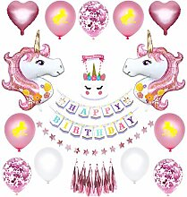 Regendeko 29er Set Einhorn Happy Birthday Ballons